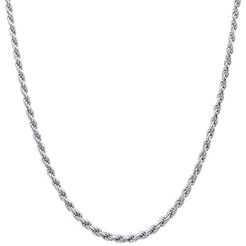 Orostar Sterling Silver 2mm and 2.5mm Diamond-Cut Rope Chain Italian Necklace, 14-36 Inch (20, 2.5MM)