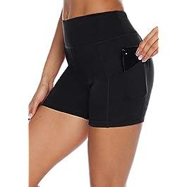 AUU High Waist Yoga Shorts Tummy Control Workout Running Athletic Non See-Through Yoga Pants