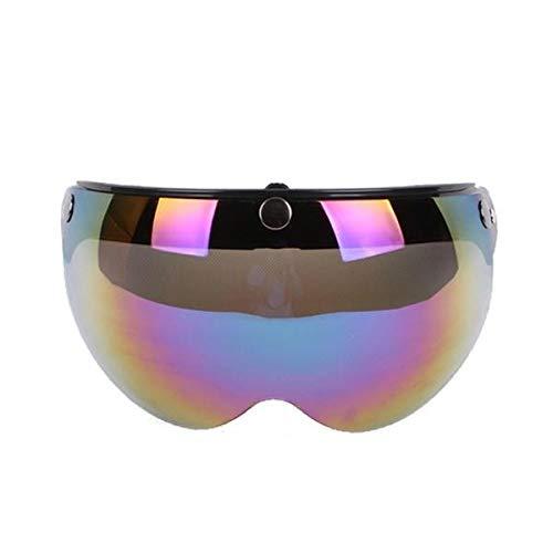 Vintage Helmet W Shield 3 Snap Flip Up Visor Half Face Visor Lens Anti-UV - Motorcycle Motorcycle Helmet - (Colorful) - 1 X Helmet Lens Visor]()