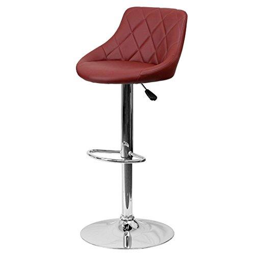 - KLS14 Contemporary Bar Stool Bucket Seat Design Hydraulic Adjustable Height 360-Degree Swivel Seat Sturdy Steel Frame Chrome Base Dining Chair Bar Pub Stool Home Office Furniture - (1) Burgundy #1984