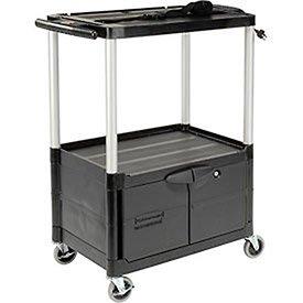 (Rubbermaid Commercial Black Three Shelf Media Master AV Cart with Cabinet (FG9T3200BLA))