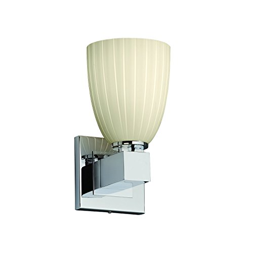 Justice Design Group Fusion 1-Light Wall Sconce - Polished Chrome Finish with Ribbon Artisan Glass Shade
