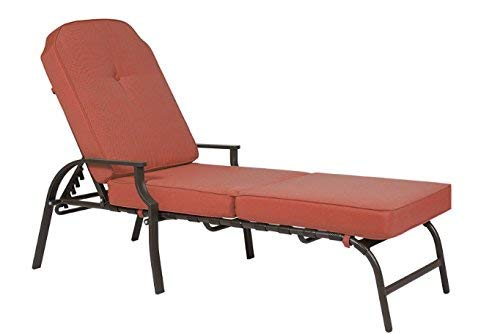 Kozyard Maya Outdoor Chaise Lounge Weather & Rust Resistant Steel Chair with Polyester Fabric Cushion for Pool, Patio, Deck or Yard (Terracotta) (Chaise Comfortable Most)