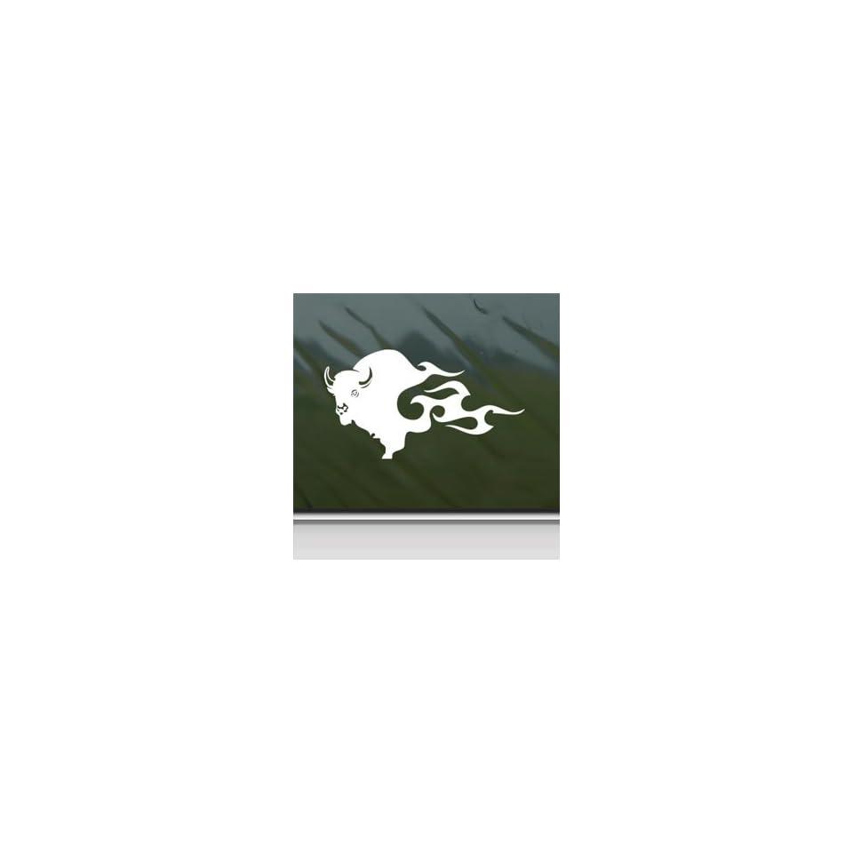BUFFALO BISON White Sticker Car Laptop Vinyl Window White Decal Arts