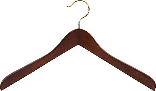 Concave Wooden Top Hanger with Walnut Finish, Thick Curved Coat Hangers with Brass Swivel Hook for Jackets or Fine Shirts (Set of 12) by The Great American Hanger Company
