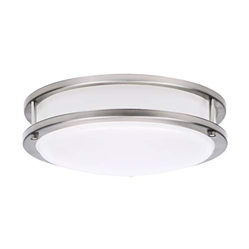 OSTWIN LED Flush Mount Ceiling Light, 12 20 Watt (120W Repl.) 4000K Bright Light 1400 Lm, Dimmable Round Ceiling Light Fixture Brushed Nickel Finish with Acrylic Shade ETL and Energy Star Listed