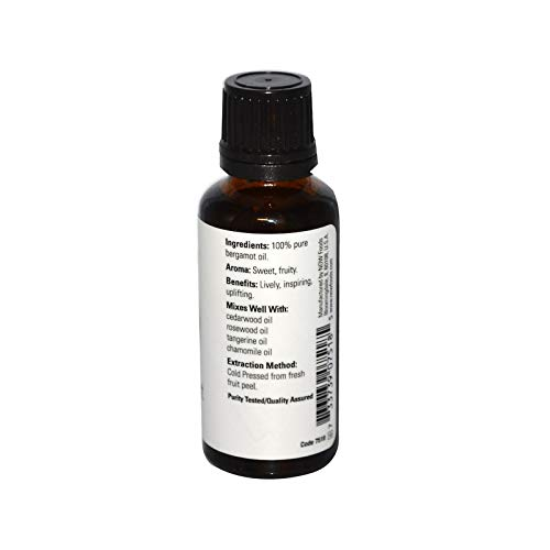 Now Essential Oils, Bergamot Oil, Sweet Aromatherapy Scent, Cold Pressed,  100% Pure, Vegan, 1-Ounce