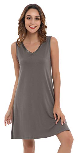 NEIWAI Womens Sleep Shirt Bamboo Nightgowns V Neck Nightshirt Iron Grey - Sleepshirt Pajamas
