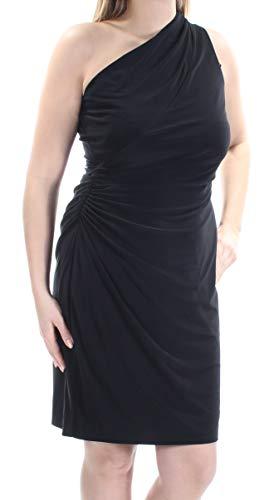 One Shoulder Jersey Dress - Lauren by Ralph Lauren Women's One-Shoulder Jersey Sheath Dress (14, Black)