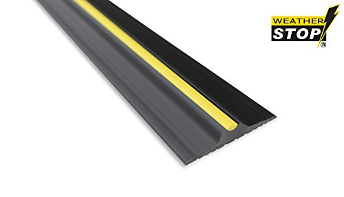 Weather Stop 15mm High Garage Door Threshold Seal Kit 2 52m 8 3 Black Yellow Pvc Adhesive Included