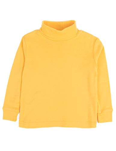 Leveret Solid Turtleneck 100% Cotton (7 Years, Yellow)