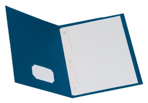 Oxford Two-Pocket Portfolios w/Fasteners, Blue, Letter Size, 10 per Pack, (57772)