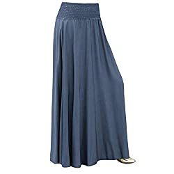 Summer Skirts Women Fashion Elastic Waist Solid Pleated Skirt Vintage A Line Loose Ladies Long Skirts 45 Blue M