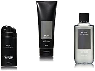 Bath and Body Works Noir Men's Collection 3 Piece Set Includes 3.7 oz Deodorizing Body Spray, 8 oz Ultra Shea Body Cream, 10 oz 2-IN-1 Hair & Body Wash