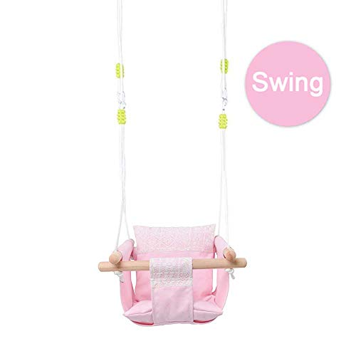 Pink Canvas Hanging Swing with Soft Cotton Cushions and Beautiful Lace,Indoor Outdoor Hammock Toy for Toddler Girls