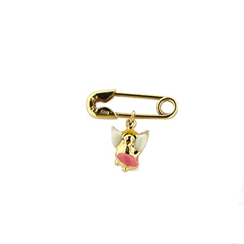 18K Yellow Gold Pink Enamel Angel Pin (17mm X 5mm/6mm Angel) by Amalia