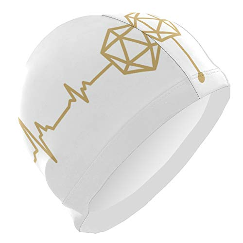 CHILL TEK D20 Dice DND Heartbeat Men's Swimming Cap Swim Case Universal Size for Entertainment Swimming