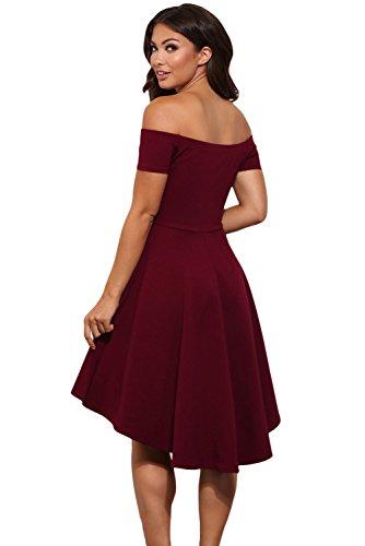 Bordeaux Elegante Abito Vestito Donna Cerimonia Mini Festa Scollo Da Barchetta Damigella Hpv7pOw
