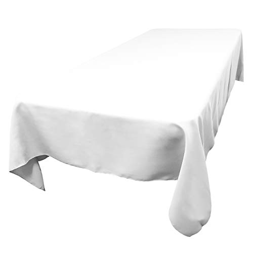 TableLinensforLess Polyester Rectangle Tablecloth, 72 Inch by 108 Inch, (White)