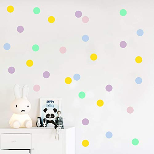 Pastel polka dot wall decals, Dots stickers, Confetti decor, Kids room decoration 45 pcs - Mural Dot Polka