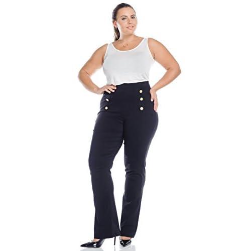 cac8b8f2ba98 Hadari Women s Plus Size High Waist Black Slim Wide Leg Buttoned Trim Pants  good