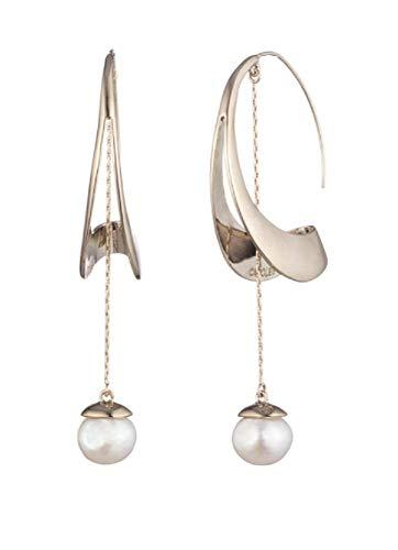 Carolee Women's Sculptural Hoop Earring with Linear Pearl Drop