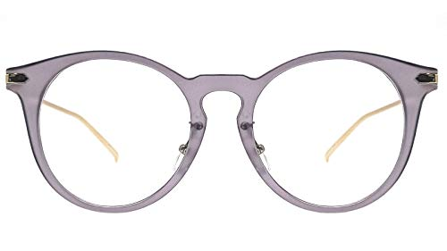 Temples Gray Frame - Oversized Big Round Horn Rimmed Eye Glasses Clear Lens Oval Frame Non Prescription (GRAY 10122)