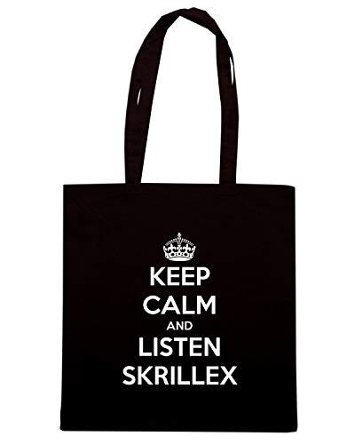 Speed Shirt Borsa Shopper Nera TKC1053 KEEP CALM AND LISTEN SKRILLEX