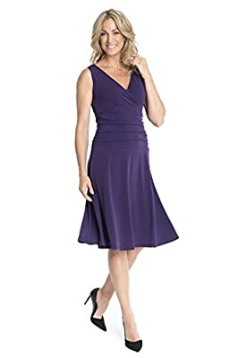 Rekucci Women's Slimming Sleeveless Fit-and-Flare Tummy Control Dresses