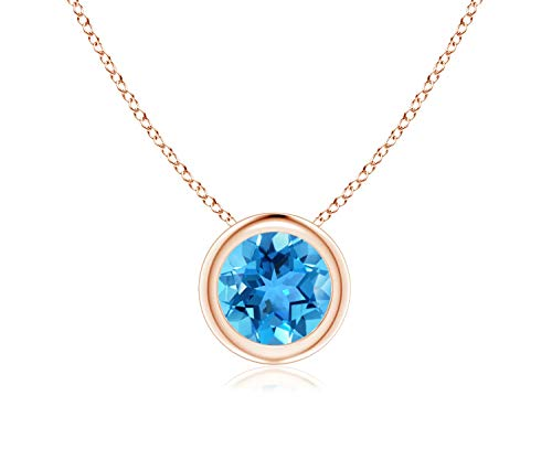 Parade of Jewels Bezel Set Swiss Blue Topaz Pendant Necklace in 14k Yellow Gold (7mm), 18