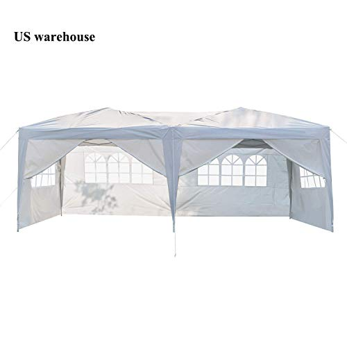 Teekland 10'x20' Outdoor Canopy,Heavy Duty Party Wedding Tent,Pop-UP Tent,Sunshade Shelter,Outdoor Gazebo Pavilion with 6 Removable Sidewalls Upgraded Thicken Steel Tube