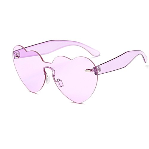 Armear Oversized Heart Rimless Tinted Sunglasses Clear Colored Shades for Women (Purple, - Shaped Heart Shades