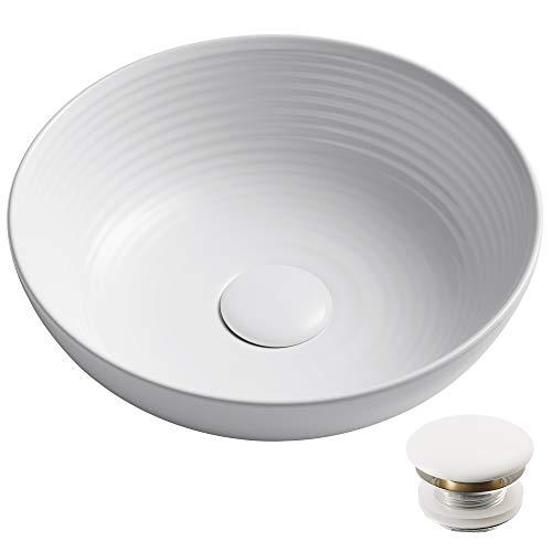 KRAUS Viva KCV-204GWH-20 Round White Porcelain Ceramic Vessel Bathroom Sink with Pop-Up Drain, 13 in. D x 4 3/8 in. H