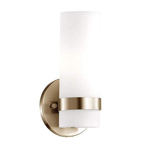 Milano - Wall Sconce White Opal Glass Cylinder in Vintage Brass