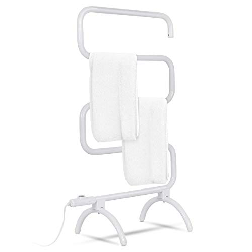 "Tangkula Towel Warmer, Home Bathroom 100W Electric 5-Bar Towel Drying Rack, Freestanding and Wall Mounted Design Towel Hanger, Towel Heater, White (23"" L x 13"" W x 36"" H)"