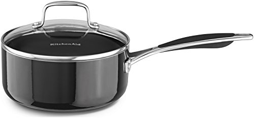 KitchenAid KCA20PLOB Aluminum Nonstick 2.0-Quart Saucepan with Lid Cookware - Onyx Black