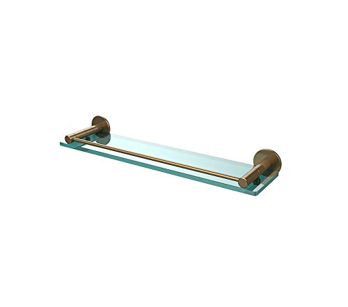 Home Décor Premium Fresno Collection 22 Inch Glass Shelf with Vanity Rail Brushed Bronze Storage