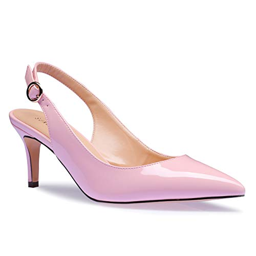 (SUNETEDANCE Women's Slingback Pumps Pointed Toe Kitten Heels Sandals Slip On Stiletto Mid Heels Shoes, Patent Leather Pink, US9.5 B(M) US)