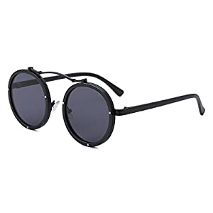 Round Retro Unisex Sunglasses Polarized Driving Mirrored Lens Steampunk Style UV Protection (Metal with Plastic, Black)