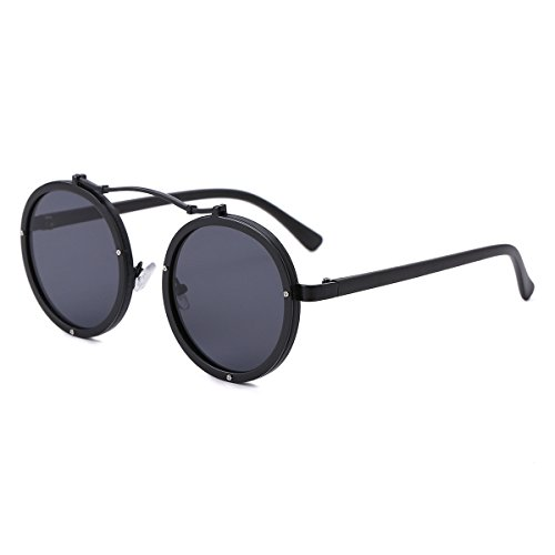 Round Retro Unisex Sunglasses Polarized Driving Mirrored Lens Steampunk Style UV Protection (Metal with Plastic, - Can Lenses Through See You Polarized