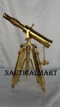 Nauticalmart Vintage Full Messing Teleskop w Messing Stativ