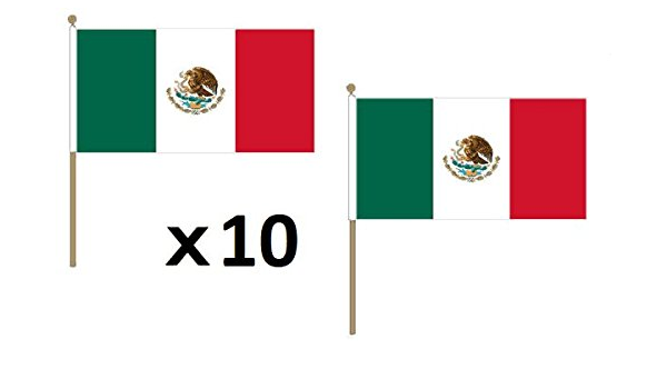 AZ FLAG Bandera de MÉXICO 45x30cm con Palo de Madera - Lote de 10 Bandera Mexicana 30 x 45 cm: Amazon.es: Jardín
