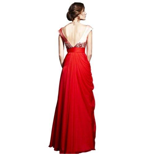 Abendkleid Spalte weg Rot bodenlangen Schulter GEORGE Rot SpitzeAppliques BRIDE Chiffon mit Mantel Perlen wq8aSSAB1
