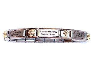 Serenity Prayer CZ Italian Charm Bracelet
