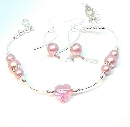 Breast cancer awareness earring and bracelet set. Silver and pink Swarovski pearls and heart
