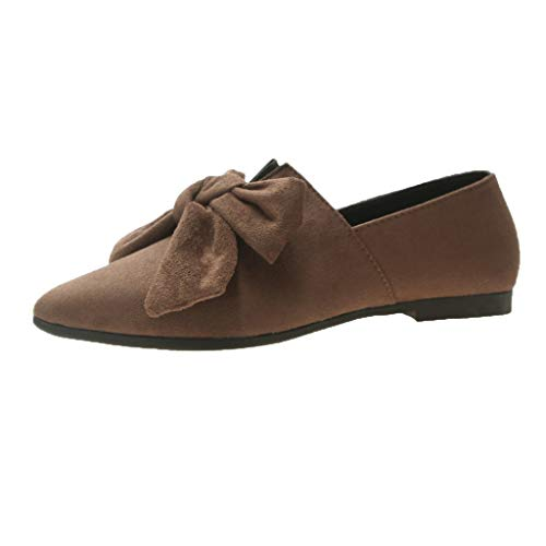 SMALLE_Shoes D'Orsay Flats Shoes for Women,SMALLE◕‿◕ Faux Suede Slip On Bow Collar Pointed Toe Ballet Flats Candy Color Khaki