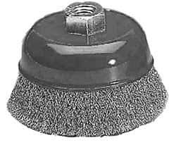 Value Collection - Crimped Steel Cup Brush - Coarse Grade, 0.015'' Filament Diam, 18mm Trim Length, 12,500 Max RPM (16 Pack)