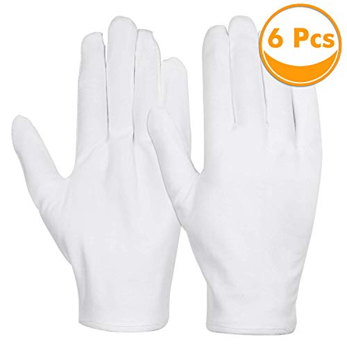 (Cotton Gloves, Anezus 3 Pairs White Cotton Gloves Cloth Serving Gloves for Eczema Moisturizing Dry Hands Coin Jewelry Silver Archival Costume Inspection, Medium Size)