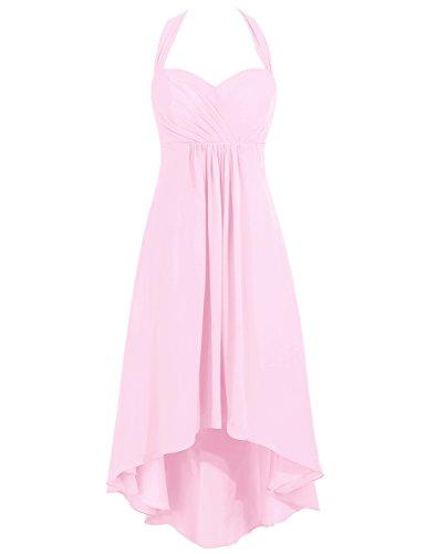 Promenade Pink Party Cdress Da Innamorato Alta Bassi Damigella Halter Del Di Delle Donne Abiti Chiffon 6aPBq7OO