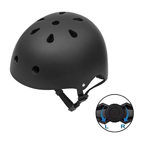 (GIORO Skateboard Helmet Impact Resistance Safe Helmet Multi Sport for Bike, Skates, Skateboards & Scooter Certified CPSC Adult&Kids Adjustable Dial Helmet with Multiple Colors&Sizes (Black, Meduim))